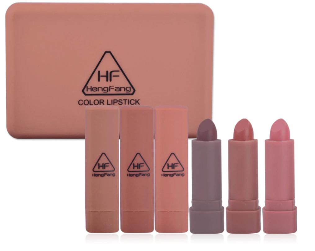 (เซ็ต6แท่ง)ลิปสติกเนื้อแมท สวยแน่น เป๊ะ เนื้อลิปเนียนนุ่ม มอบสีสันที่เป็นธรรมชาติ สีสวยคมชัด ติดทนนาน ไม่ทำให้ริมฝีปากแห้ง ขายเครื่องสำอาง Hengfang color lipstick